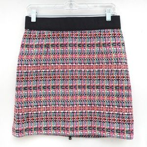 Milly Bright Colorful Tweed Back Zip Mini Skirt